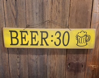 BEER:30 Rustic Wood Sign/Bar/Man Cave/Tavern/Patio/Deck/Drinking