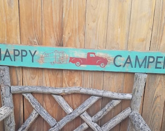 Happy Camper Rustic Wood Sign/Lodge/Home/Cabin/Rustic decor/Farmhouse/Vintage Truck/Camper