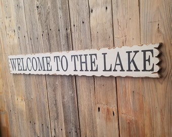 WELCOME to the LAKE/Rustic/Carved/Wood/Sign/Cabin/Lodge/Boat Dock/Marina/Décor/Porch/Patio/Deck