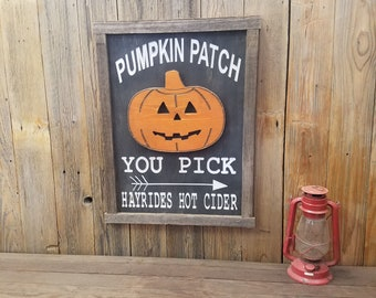 PUMPKIN PATCH Carved Rustic Wood  Halloween Sign/Fall/Hay rides/Hot Cider/Trick or Treat/Home/Décor/Decorations