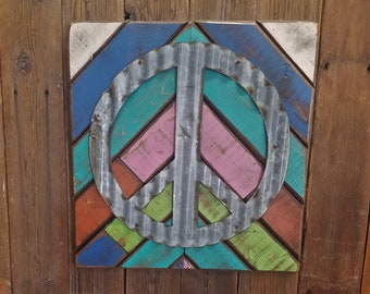 Wood Peace Sign,One of a kind, Boho Art, Hippie decor, Rustic Wood, Vintage Inspired decor, Multi Color