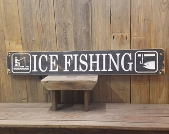 Ice Fishing Rustic Engraved Wood Sign, Cabin décor, Lodge sign, Up North Sign, Man Cave, Log Cabin, Vacation Home sign