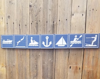 Water Icons/Carved/Rustic/Wood/Sign/Water sports/Lake/River/Cabin/Décor/Boat Dock/Marina/Canoe/Water skiing/Anchor/Recreational