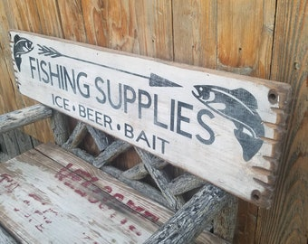 FISHING SUPPLIES Ice Beer Bait Rustic Wood Sign,Cabin decor,Lodge decor,Tackle,Marina,Lake,Boat Dock