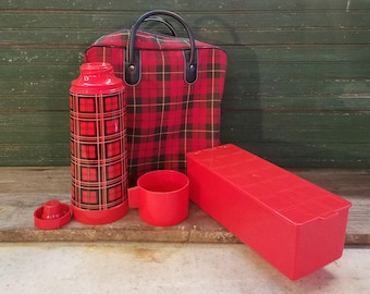 Tartan plaid thermos set/60's/70's/Vintage lunch kit/Cabin decor/Rat Rod props/Retro tailgate/Lodge decor/Glamping