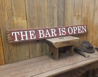 The BAR IS OPEN, Rustic Wood Sign, Man Cave, Cabin, Home, Décor, Beer. Whiskey. Saloon, Engraved Wood Sign, Deck, Patio, Sports Bar
