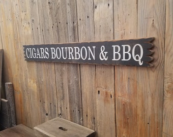 CIGARS BOURBON & BBQ/Distressed/Carved/Wood/Sign/Man Cave/Drinking/Tavern/Bar/décor
