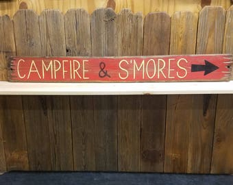 Campfire & S'mores Rustic Wood Sign/Cabin/Log Cabin/Bonfire/Camping/Lodge/Backyard/Free Shipping