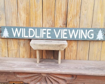 WILDLIFE VIEWING/ National Park/Distressed Wood Sign,Colorado,Moose,Cabin decor,Log Cabin, Ranch decor sign