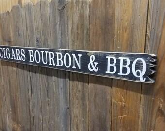 CIGARS BOURBON & WHISKEY Distressed Wood Sign/Man Cave/Drinking/Tavern/Bar/bbq