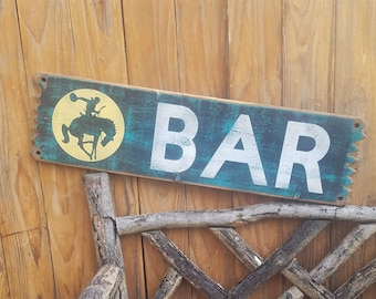 BAR/Bucking Horse/Rustic /Western/ Cabin/ Wood Sign, Beer, Drinking, Man Cave, Tavern, Bar decor, Bronc, Old West, Saloon