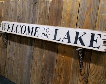 WELCOME to the LAKE Rustic Wood Sign,Cabin decor,Lodge decor,Fishing,Camping,Boat Dock decor,Gift, Free Shipping