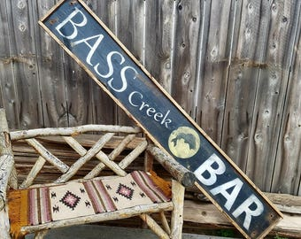 Wood Bar Sign, XL , BASS CREEK Bar Rustic Sign, Cabin decor, Lodge, Bar, Tavern , Free Shipping