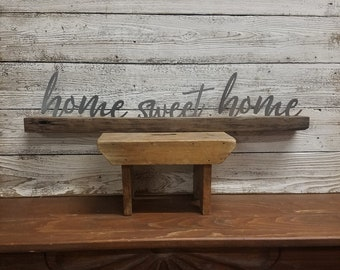 Farmhouse style, Family sign,Wedding decor, HOME SWEET HOME  Metal on wood block,House warming gift, Shelf sitter, Mantel, Primitive