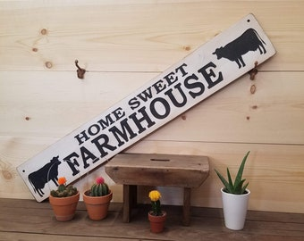 Home Sweet Farmhouse Rustic Carved Wood Sign, Welcome Sign, Cows, Ranch décor, Farmhouse style, Family room, Living room, Farmer's sign,