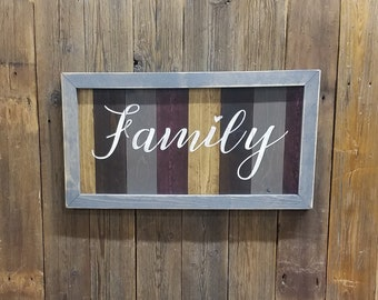 Family Framed Wood Sign/Farmhouse style/Home decor/Dining room/Living room/Distressed