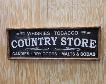COUNTRY STORE/Rustic Wood Sign/Whiskey/Home/Décor/Kitchen/Farmhouse Style/Vintage Inspired/Carved/Cabin/Farmer's Market/Dry Goods