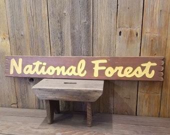 National Forest/Carved/Rustic/Wood/Sign/Cabin/Lodge/Home/Décor/Park/Ranger Station/Camping