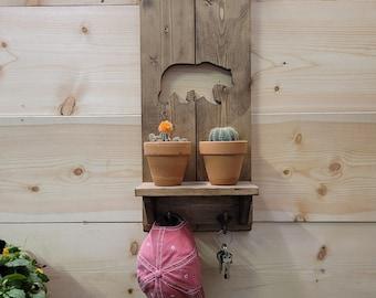 Wooden Shelves, Bear, Rustic Wood Shelves, Cabin décor, Lodge décor, Home, Key Holder, Pet Leash Holder,