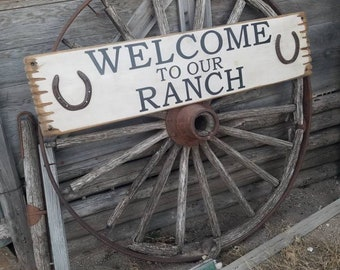 WELCOME to our RANCH/wood/sign/bunkhouse/decor
