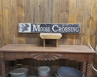 Moose Crossing Rustic Wood Sign, Cabin decor, Lodge, Moose Head, Moose decor, Mountains, Free Shipping