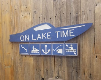 On Lake Time Engraved Wood Sign, Lake House sign, Boat Dock, Marina, Boat sign,  Recreational, Décor, Fishing, Anchor, Kayak, Swimming