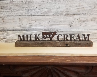 COW Sign, Metal MILK and CREAM with Cow on wood, Home decor, Mantel decor,Farmhouse decor, Kitchen decor, Dairy sign, Free Shipping