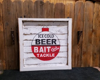 Ice Cold Beer Bait and Tackle Rustic Wood Sign/Vintage Window/Cabin decor/Lodge decor/Fishing/Man Cave/Log Cabin