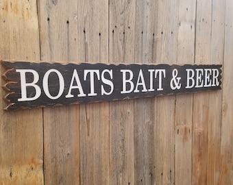 BOATS BAIT & BEER/Rustic/Carved/Wood/Sign/Cabin/Camping/Fishing/Boat Dock/Man Cave/Lake/River/Marina/Bar