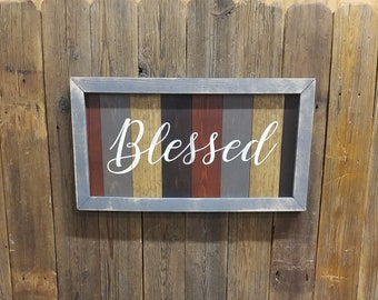Blessed Framed Wood Sign/Farmhouse style/Home decor/Dining room/Living room/Distressed