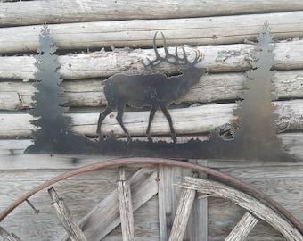 ELK Scene/metal/sign/Large/Cabin/lodge/Home/decor