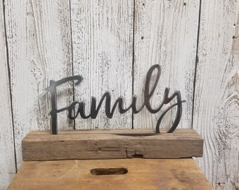 Farmhouse style , Metal Family on wood block, Home decor, Mantel sign, Shelf sitter, Wall Hanging