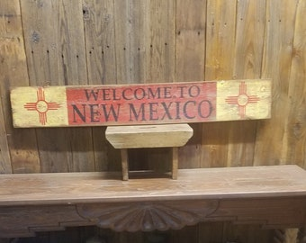 WELCOME to NEW MEXICO Rustic Wood Sign/New Mexico State Flag/Zia/Home decor/Cabin decor/Lodge decor