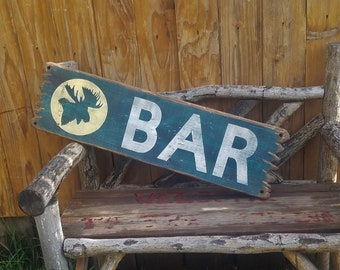BAR/Moose/Rustic/Western/Cabin/Wood/Sign/Beer/Drinking/Man Cave/Tavern/decor