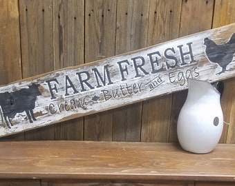 Farm Fresh Cream Butter and Eggs Rustic Wood Sign, Cows, Chickens, Farmhouse style, Kitchen decor, Farm, Dairy, Chicken Coop