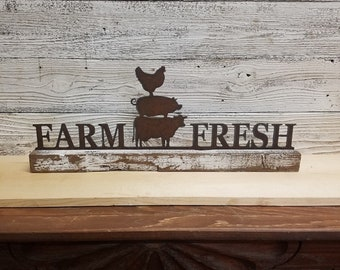 Farmhouse Sign, Metal FARM FRESH Cow Pig Chicken on Wood,Home decor, Kitchen decor, Farm to Table, Farmhouse decor, Free Ship