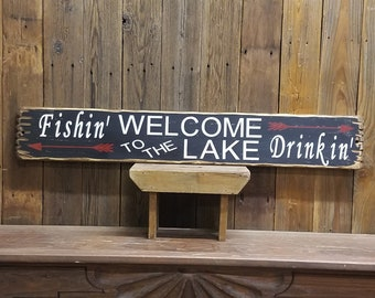 Lake sign Cabin sign Cabin decor Boat dock sign WELCOME to the LAKE Rustic Wood Sign Marina sign Fishing sign Free Shipping