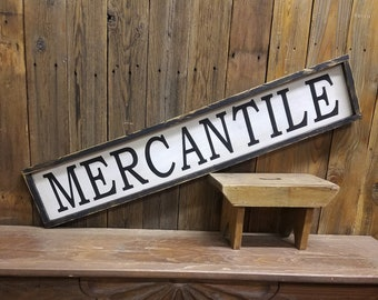 MERCANTILE Farmhouse Sign/ Rustic Wood Sign Vintage Store Sign Farmers Market