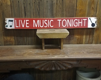 LIVE MUSIC TONIGHT with Banjo Rustic Wood Sign/Bar/Patio/Band/Vintage/Tavern/Coffee Shop/Jam session/Free Shipping