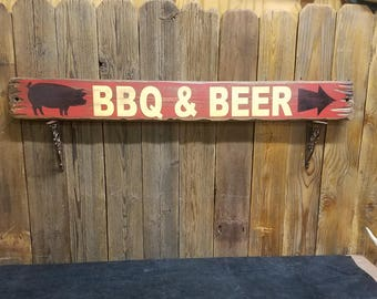 BBQ sign Patio sign BBQ & BEER Rustic Wood Sign Man cave Bar sign Deck sign Restaurant sign bbq decor Free Shipping