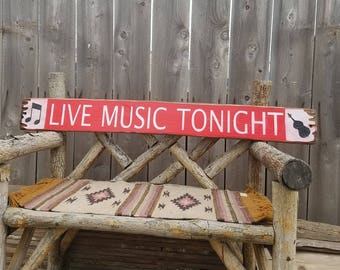 LIVE MUSIC TONIGHT with Stand Up Bass Rustic Wood Sign, Bands, Jazz Session, Porch decor, Patio decor, Home decor, Free Shipping