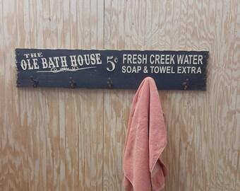 Ole Bath House/Towel Rack/Rustic Carved Wood Sign/Hot Tub Décor/Bathroom/Pool/Spa/Hooks/Western/Ranch/Cabin/Lodge/Home