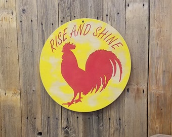 Rise and Shine Rooster/Carved/Wood/Sign/Rustic/Kitchen/Farmhouse/Chicken Coop/Décor/Cabin/Lodge/Café