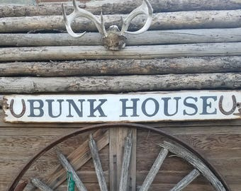 BUNK HOUSE Rustic Wood Sign Horseshoes Cowboys Western Cabin Lodge Bedroom Guest House Ranch Farm