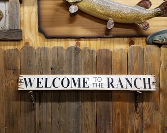Western decor Ranch decor Cowboys Cowgirls Rustic WELCOME to the RANCH Wood Sign Bunkhouse Porch Sign Ranch Sign Western Sign
