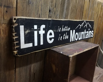 Cabin sign, Lodge sign, LIFE is better in the MOUNTAINS Rustic Wood Sign, Skiing, Snow, Free Shipping