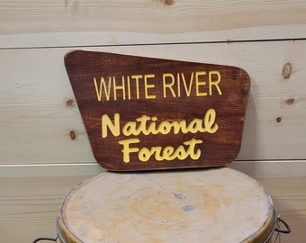 White River National Forest/Rustic/Carved/Wood Sign/Cabin/Décor/Mountains/Snow Ski Sign/Snow boarding