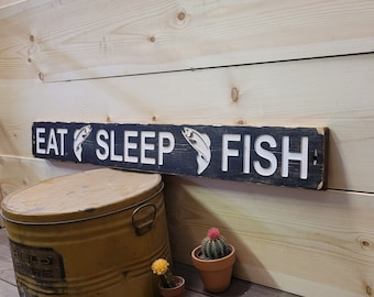 EAT SLEEP FISH/Carved Rustic Wood Sign/Fishing Cabin Sign/Lodge/Boat dock/ décor/Man Cave/Fishing