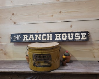 THE RANCH HOUSE, Rustic Carved Wood Sign, Western décor, Bunk House, Cowboys, Cowgirls, Horses, Cattle, Distressed Wood Signs