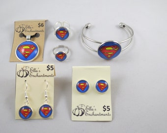 Superman Jewelry Set (Stud and Dangle Earrings, Necklace with silver chain, Bracelet, Large and Small Ring)